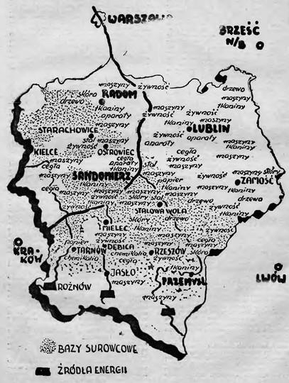 Mapa Centralnego Okręgu Przemysłowego