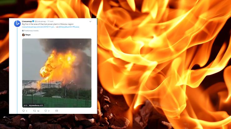 Duży pożar w elektrowni pod Moskwą. Jedna osoba nie żyje, 13 rannych